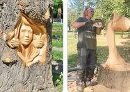 هنرنمایی روی کُندههای درختان قدیمی