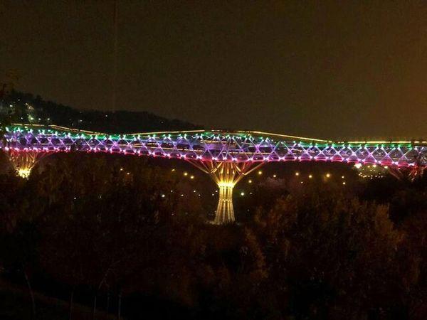 تغییر پل طبیعت به رنگ پرچم ایران