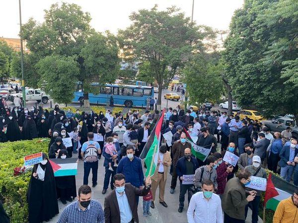 تجمع اعتراضی جمعی از تبریزیها در واکنش به جنایات رژیم صهیونیستی در نوار غزه+عکس