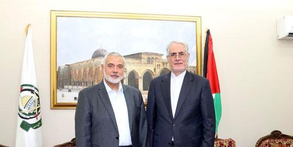 در دیدار با اسماعیل هنیه/تاکید سفیر ایران در قطر بر حمایت از فلسطین
