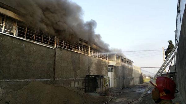 جزئیات آتشسوزی در کارخانه ١٠٠٠ متری تولید گونی و نخ پلاستیکی