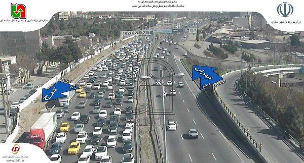 ترافیک سنگین در جاده کرج-چالوس