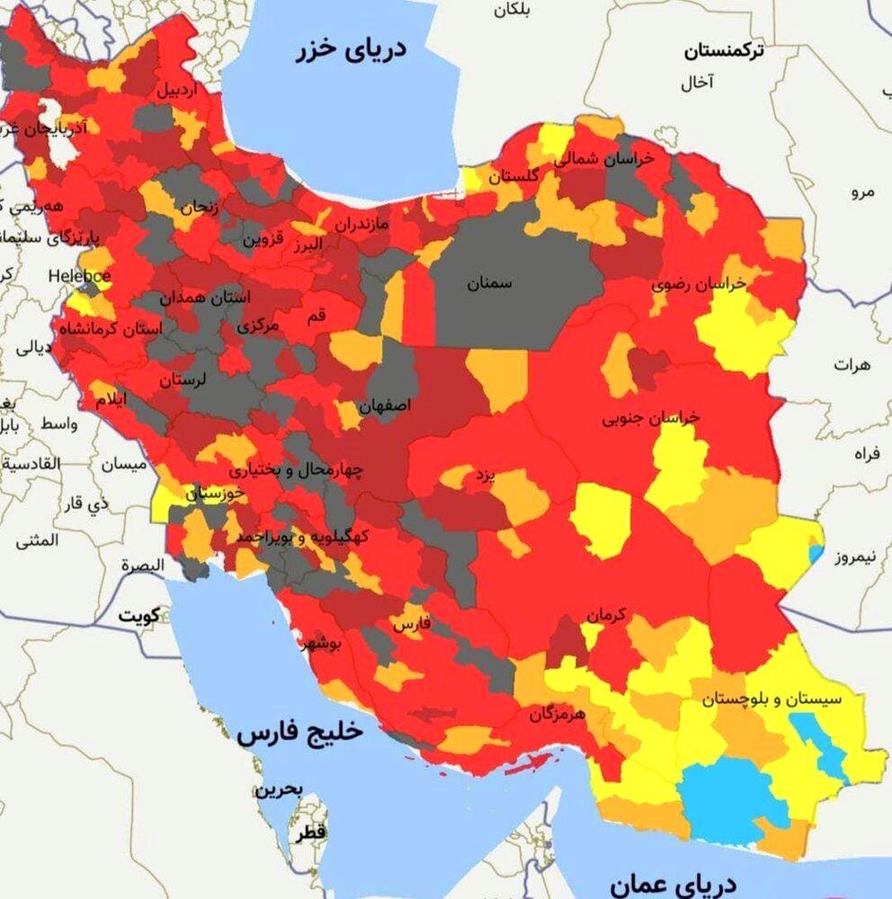 نقشه وحشتناک کرونایی ایران در غروب ۲۵ فروردین ۱۴۰۰