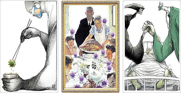 همنشینی کرونا و کاریکاتور