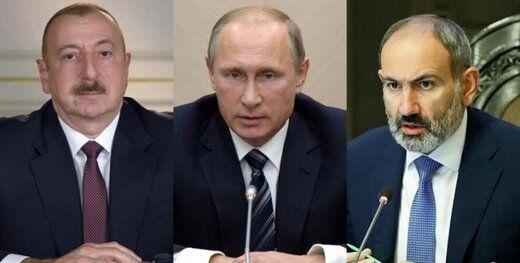 گفتوگوی پوتین با رهبران جمهوریآذربایجان و ارمنستان درباره قره باغ