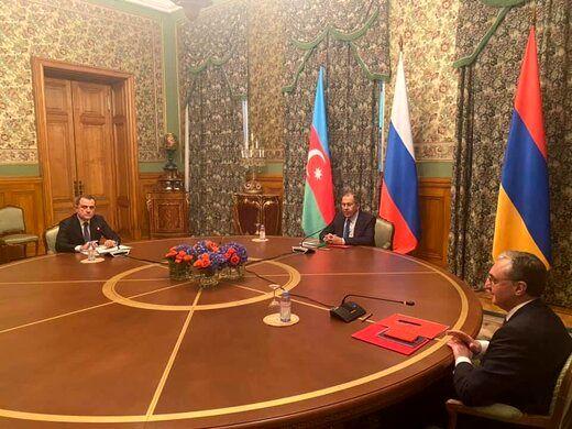مذاکرات وزرای آذربایجان، ارمنستان و روسیه پشت درهای بسته