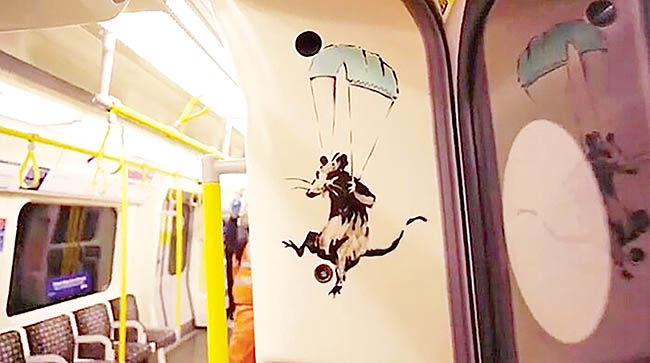 موشهای «بنکسی»  با ماسک به مترو آمدند