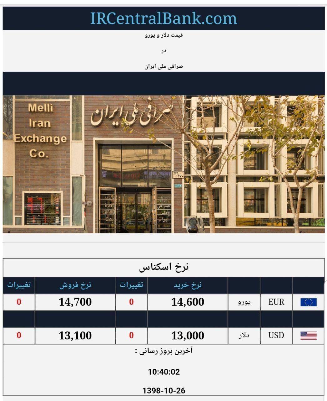 قیمت دلار و یورو در صرافی ملی امروز ۱۳۹۸/۱۰/۲۶