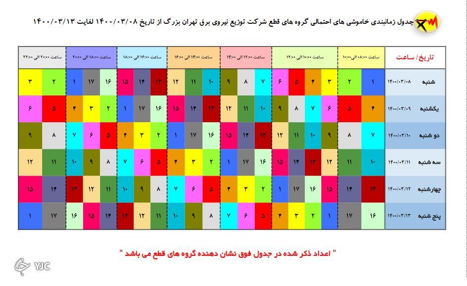 جدول خاموشی های امروز در مناطق مختلف پایتخت از ساعت ۸ تا ۱۱