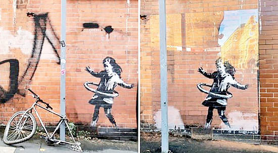 ناپدید شدن بخشی  از اثر هنری «بنکسی»