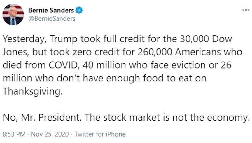 برنی سندرز خطاب به ترامپ: اقتصاد فقط بازار سهام نیست