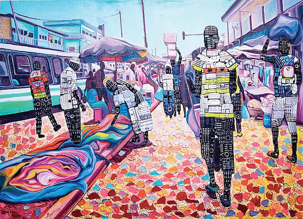 نقاشیهای هنرمند ساحل عاجی با بازیافتهای الکترونیکی