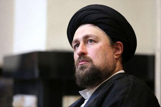 حضور سیدحسن خمینی در مراسم تشییع پیکر همسر آیت الله ری شهری/ عکس