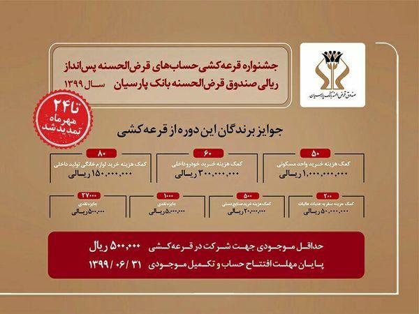 جشنواره حسابهای قرضالحسنه بانک پارسیان برگزار میشود