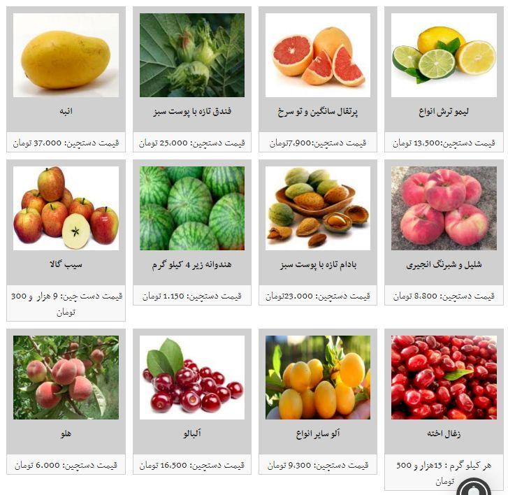نرخ مصوب هر کیلو میوه در میادین میوه و تره بار چقدر است؟