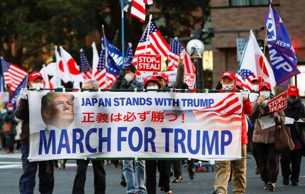 تجمع حامیان ترامپ در توکیو پیش از مراسم تحلیف