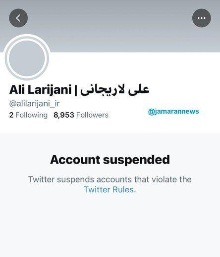 حساب کاربری لاریجانی در توئیتر مسدود شد