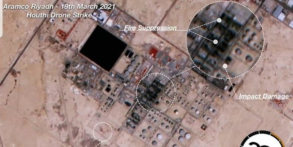 نخستین تصویر از پالایشگاه الریاض بعد از حمله ارتش یمن