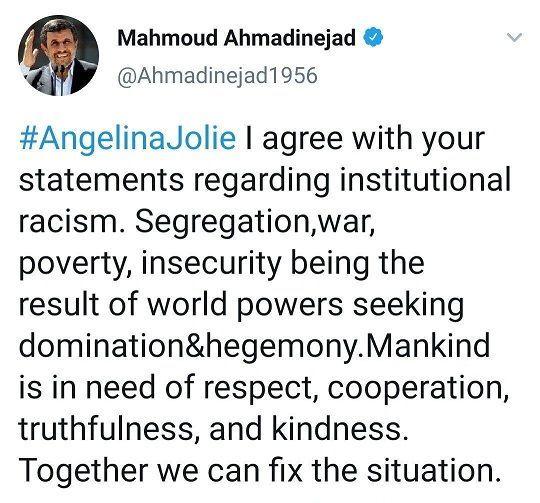 جواب احمدی نژاد به آنجلینا جولی