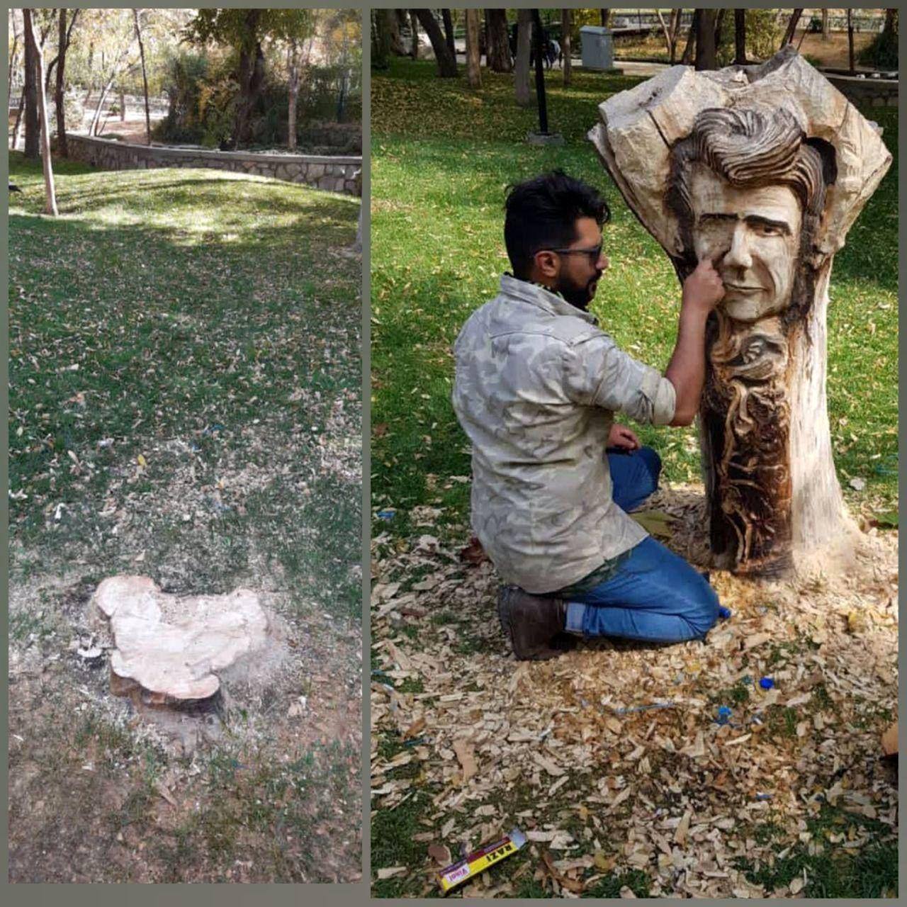 KJJ8E3dMnmjF - قطع تندیس شجریان در پارک ملت مشهد!+ عکس