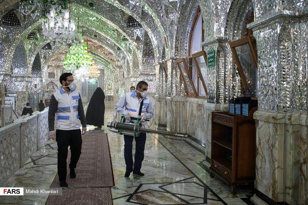 عکس | ضدعفونی کردن حرم حضرت عبدالعظیم (ع)