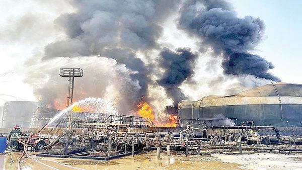 حریق نفتی درقلب پالایشی تهران
