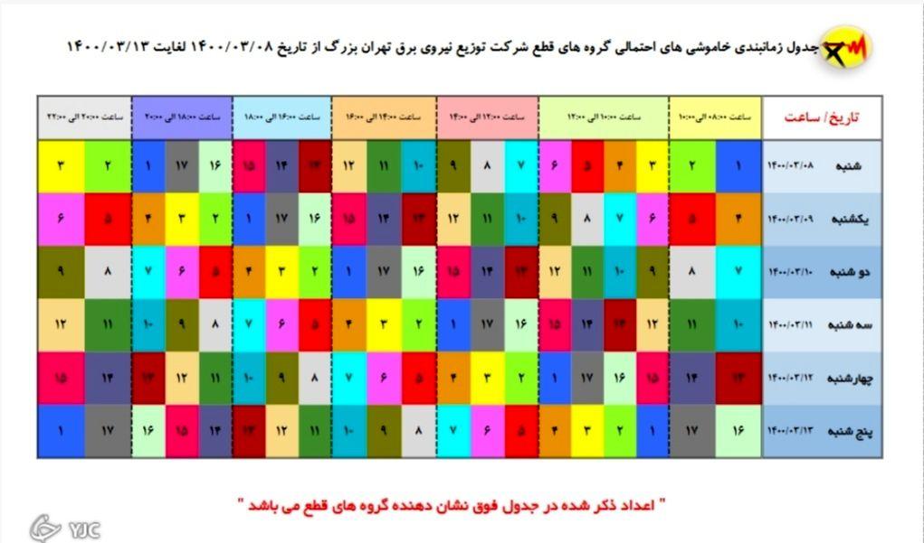 جدول خاموشیهای امروز در مناطق مختلف پایتخت از ساعت ۱۶ تا ۱۸+جدول خاموشی